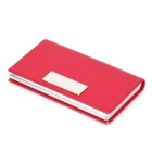 PU + Stainless Steel Business Card Box - Red