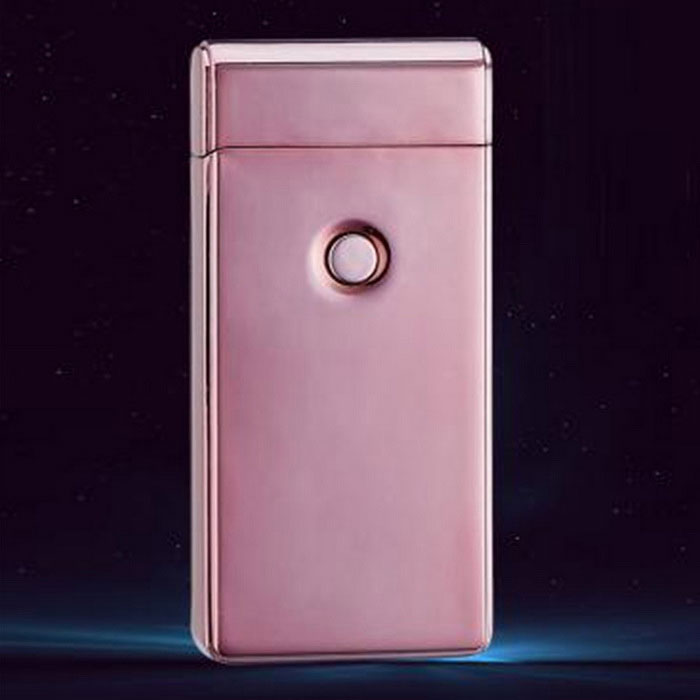 MAIKOU Double Arc USB Charging Lighter - Rose GoldOther Lighters<br>Form  ColorRose GoldMaterialKirsiteQuantity1 DX.PCM.Model.AttributeModel.UnitShade Of ColorPinkTypeUSBFlame ColorPurpleWindproofYesPower SupplyRechargeable batteryCharging Time4~5 DX.PCM.Model.AttributeModel.UnitPacking List1 * Lighter1 * USB line  (15cm)<br>