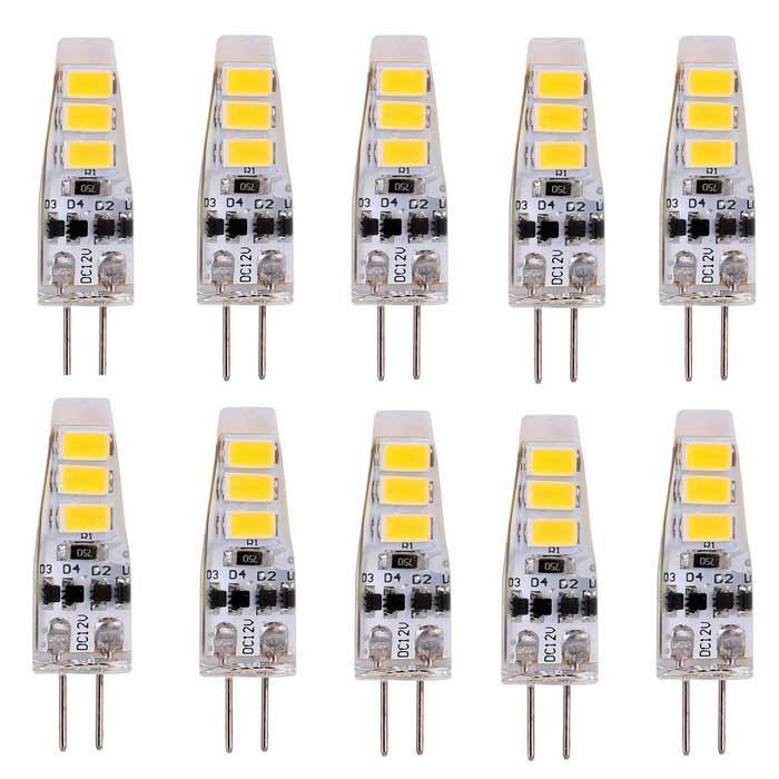 YWXLight G4 2W 6-5730 SMD Cold White LED Silicone Light Bulbs (10PCS)