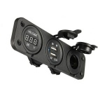 USB Phone Charger Automobile Cigarette Lighter / Voltmeter - Black