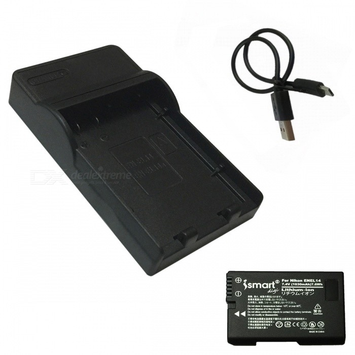 ismartdigi EL14 Battery + Micro USB Mobile Charger for Nikon EN-EL14