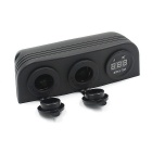 12~24V Car Modification Tent Style Outlet w/ Voltmeter - Black