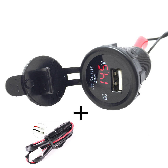Car Motorcycle Waterproof 2.1A USB Charger w/ Voltmeter Red Light