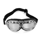 Vintage Style Protective Motorcycle Bike Goggles Helmet Glasses - Silver + Black