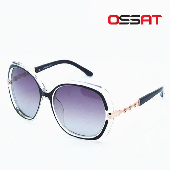 Ossat Ladies Fashion lunettes de soleil polarisées en plein air - Transparent + Gris