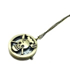 Skull + Fork Style Zinc Alloy Quartz Necklace Pocket Watch - Bronze