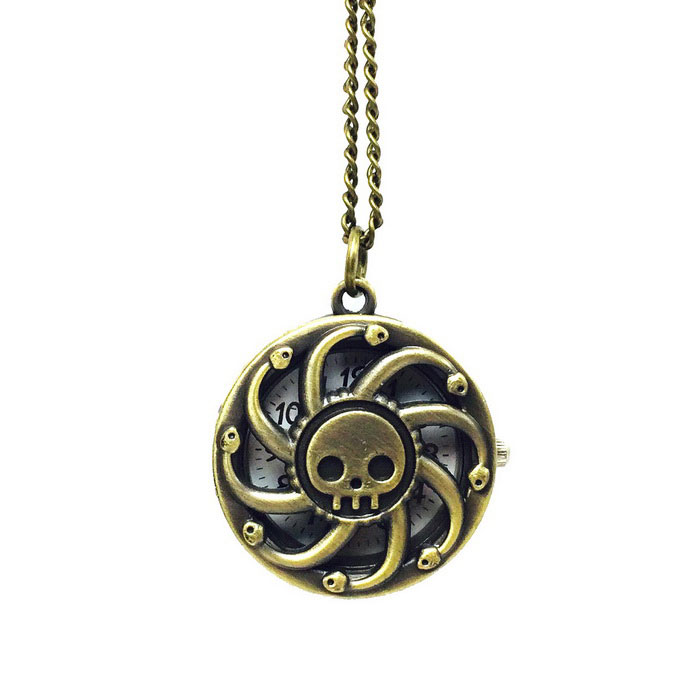 Cool Skull Style Zinc Alloy Quartz Necklace Pocket Watch - BronzePocket Watches<br>Form  ColorAntique BrassQuantity1 DX.PCM.Model.AttributeModel.UnitShade Of ColorBrownCasing MaterialZinc alloyWristband MaterialZinc alloyGenderUnisexSuitable forAdultsStylePocket WatchTypeFashion watchesChain Length80 DX.PCM.Model.AttributeModel.UnitDisplayAnalogMovementQuartzDisplay Format12 hour formatWater ResistantFor daily wear. Suitable for everyday use. Wearable while water is being splashed but not under any pressure.Wristband Length80 DX.PCM.Model.AttributeModel.UnitDial Diameter3.1 DX.PCM.Model.AttributeModel.UnitDial Thickness1 DX.PCM.Model.AttributeModel.UnitBand Width0.25 DX.PCM.Model.AttributeModel.UnitBattery1 * 377 Battery (included)Packing List1 * Pocket watch<br>