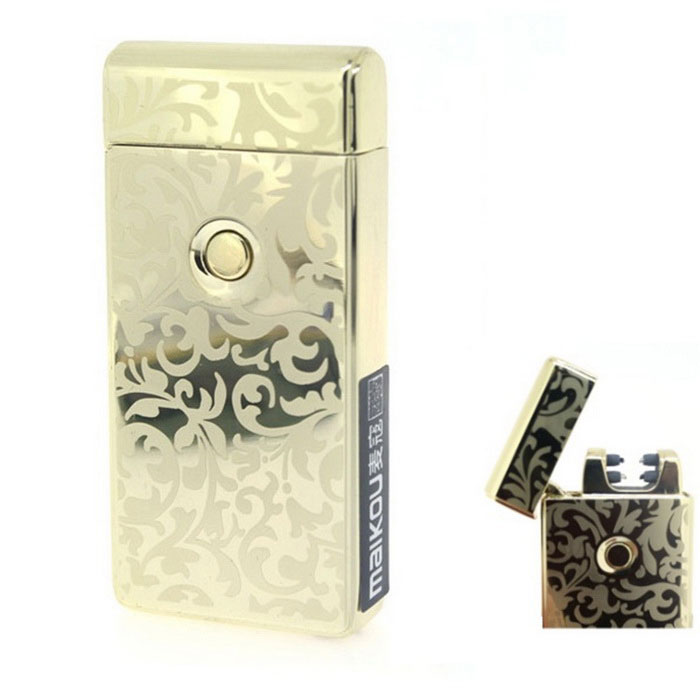 MAIKOU Flowers Pattern Double Arc USB Charging Lighter - Gold