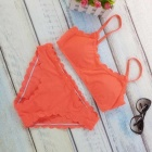 Europe / America Style Wave Edge Swimming Split Suit - Orange (L)