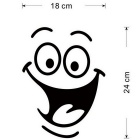 Funny Cute Face Pattern Toilet Decore Wall Sticker - preto