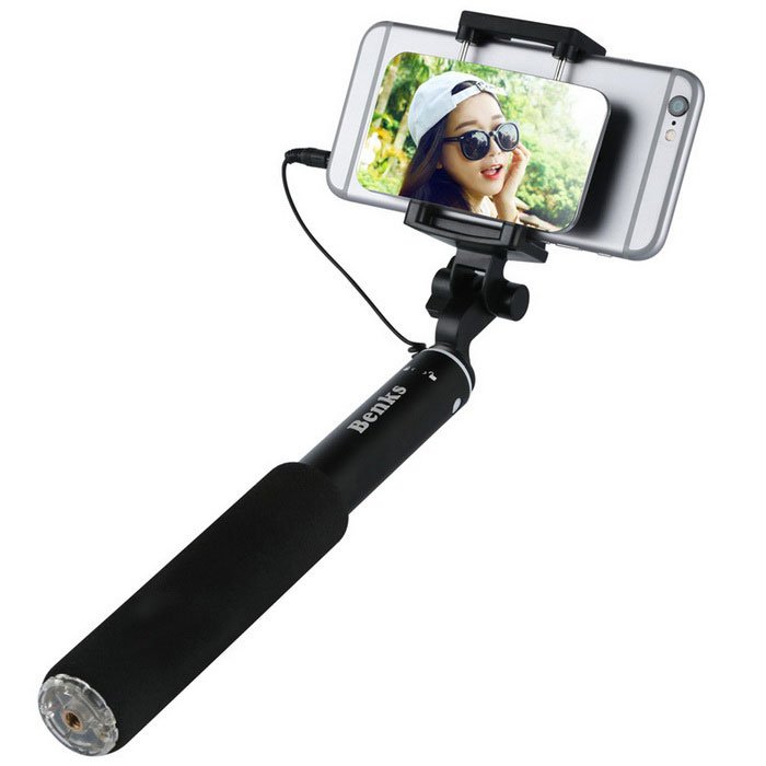 benks wired selfie stick with magic mirror for 4 6 mobile phones free shipping dealextreme. Black Bedroom Furniture Sets. Home Design Ideas