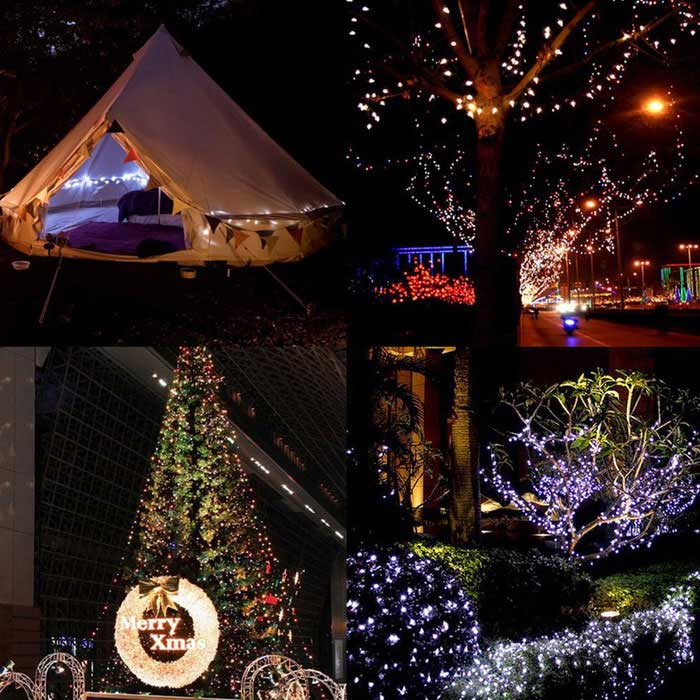 waterproof 2w 200 led colorful solar christmas light string for gardens 22m
