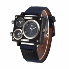 Oulm Rectangle Case Three-Time Zones Quartz Analog Wrist Watch