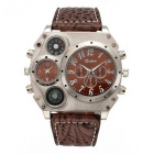 Oulm Men's Dual Time Zone Compass Thermometer Decoration Watch - Brown