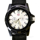 Woven Nylon Strap Outdoor Leisure Quartz Analog Watch - Black + White