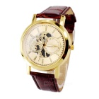 Imitation Leather Strap Hollow Out Surface Men's Wrist Watch (1 * 377)