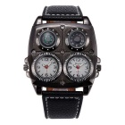Oulm Sports Dual Time Zone Compass Thermometer Decoration Watch -White