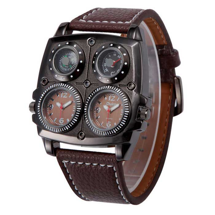 Oulm Sports Dual Time Zone Compass Thermometer Decoration Watch -Brown