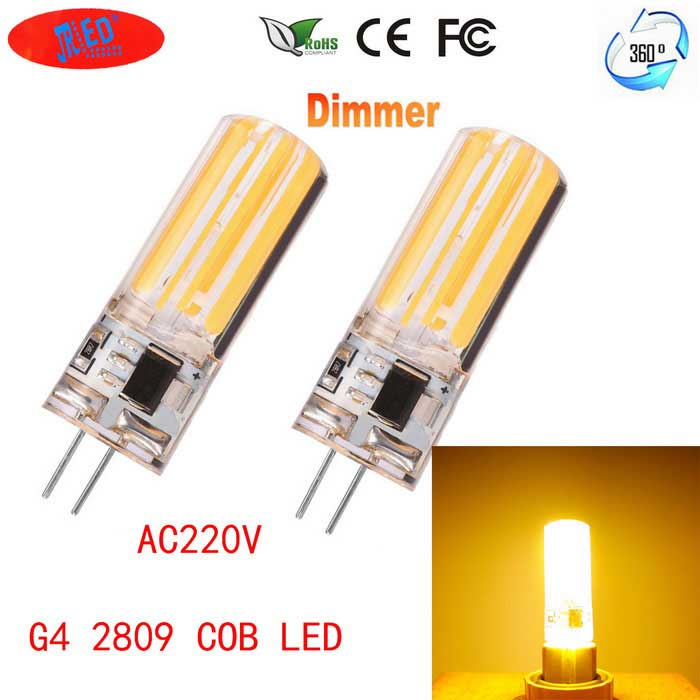 JRLED G4 Dimmable 6W 80-COB LED Warm White Light Ceramic Bulbs (2PCS)