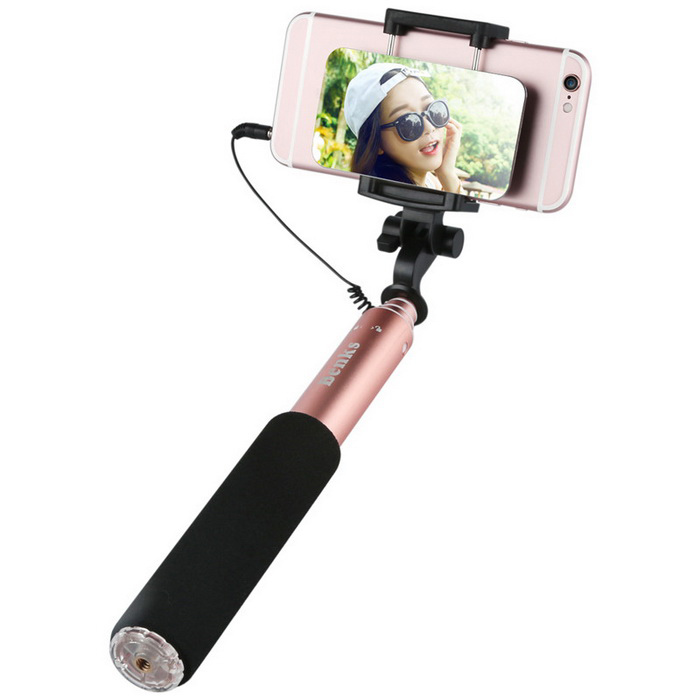 Benks Wired Selfie Stick with Magic Mirror for 4~6 Mobile PhonesMounts &amp; Holders<br>Form  ColorRose GoldModelMagic MirrorMaterialAluminum Alloy +PCQuantity1 DX.PCM.Model.AttributeModel.UnitMount TypeSelfie monopodCompatible ModelsMost of the mobile phonesCompatible Size(inch)4 inch-6 inchCertificationRoHSPacking List1 * Wired Selfie Stick1 * Chinese user manual<br>