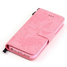 BLCR Butterfly Pattern PU + TPU Wallet Case for IPHONE SE/5S/ 5 - Pink