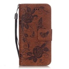BLCR Butterfly Pattern PU + TPU Wallet Case for IPHONE SE/5S/ 5 -Brown