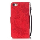 BLCR Butterfly Pattern PU + TPU Wallet Case for IPHONE SE/5S/ 5 - Red