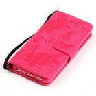 BLCR Butterfly Pattern Wallet Case for IPHONE SE/5S/ 5 - Deep Pink