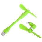 Portable 2-in-1 USB Fan + Micro USB Fan Set - Green