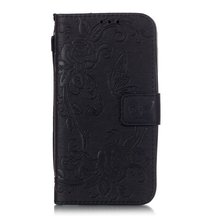 BLCR Butterfly Pattern PU + TPU Wallet Case for Huawei Y625 - Black
