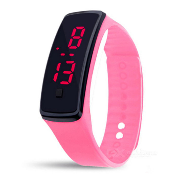 Silicone Wristband LED Bracelet Watch - Pink + Black (2 * LR1130)