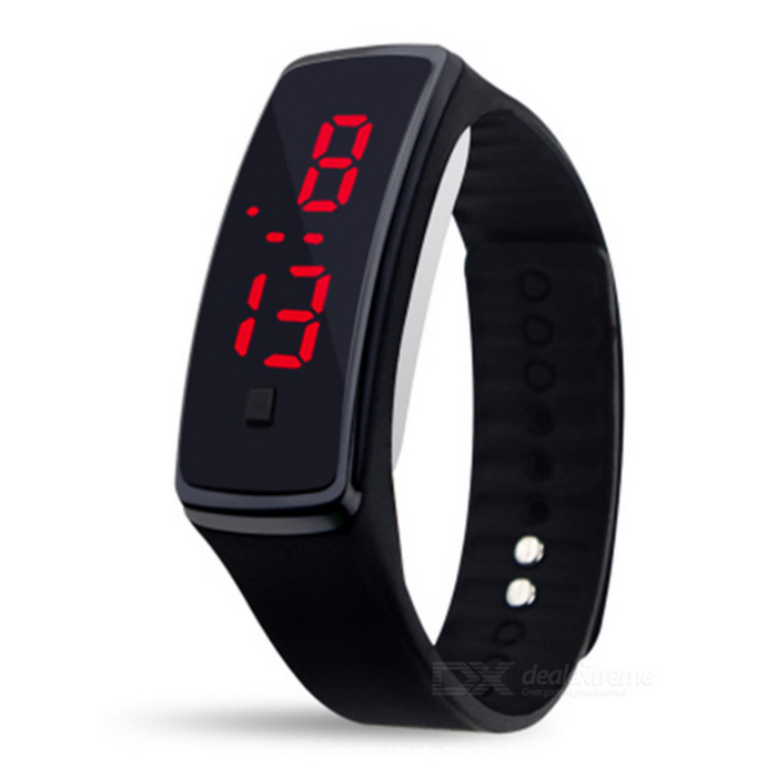 Silicone Wristband LED Bracelet Watch - Black (2 * LR1130)