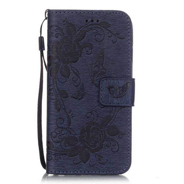"BLCR Butterfly Pattern Wallet Case for 5.5"" IPHONE 6 Plus - Deep Blue"