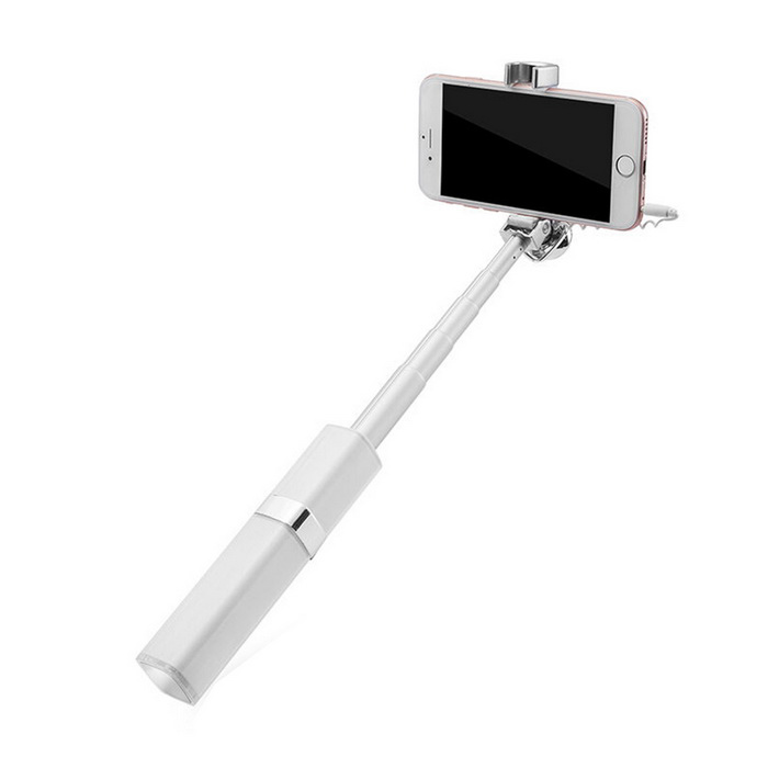 Universal Wired Retractable Self Timer Selfie Monopod - White