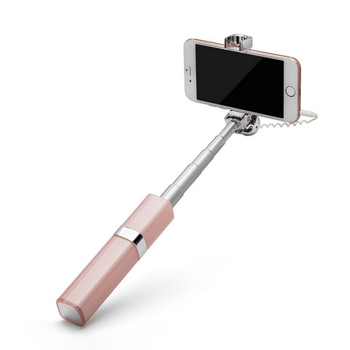 Universal Wired Retractable Self Timer Selfie Monopod - White + Pink