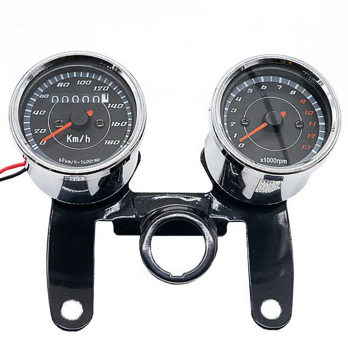 CS-360A1 12V Combo Custom Bike Odometer Tachometer - Black + SilverOthers<br>Form ColorBlack + SilverModelCS-360A1Quantity1 DX.PCM.Model.AttributeModel.UnitMaterialStainless steelTypeOthersWaterproof FunctionYesInstallation Method1. [tachometer]: 5 lines, two long red and black, respectively, then the power of positive and negative, black wire with terminals, the green line, yellow and black lines! Three short-term: Black then positive, then negative green, black / yellow to engine speed signal lines; 2. [odometer]: two lines, red, black to positive and negative power supply respectively.Other Features1. Voltage: 12V; <br>2. Tachometer measurement: 0-13000RPM; <br>3.Odometer Measurement: 0-180km / h; <br>4. Install distance: 10 cm /3.93 ; <br>5. Installation hole diameter: 10 mm /0.39 ; <br>6. Waterproof grade: IP65.Packing List1 * Tachometer1 * Odometer1 * Bracket<br>
