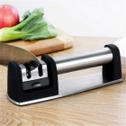 Knife Sharpener Sharpening Stone Kitchen Gadget - Black + Silver