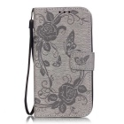 BLCR Butterfly Pattern PU + TPU Wallet Case for Huawei Y625 - Gray