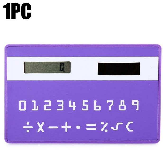 Solar Powered 1.0 LCD 8-Digit Ultra-Thin Pocket Card CalculatorCalculators<br>Form  ColorPurpleMaterialABSQuantity1 DX.PCM.Model.AttributeModel.UnitDigits8Screen Size2.5 DX.PCM.Model.AttributeModel.UnitBattery included or notYesBattery TypeSolarBattery Number1Packing List1 * Solar calculator<br>