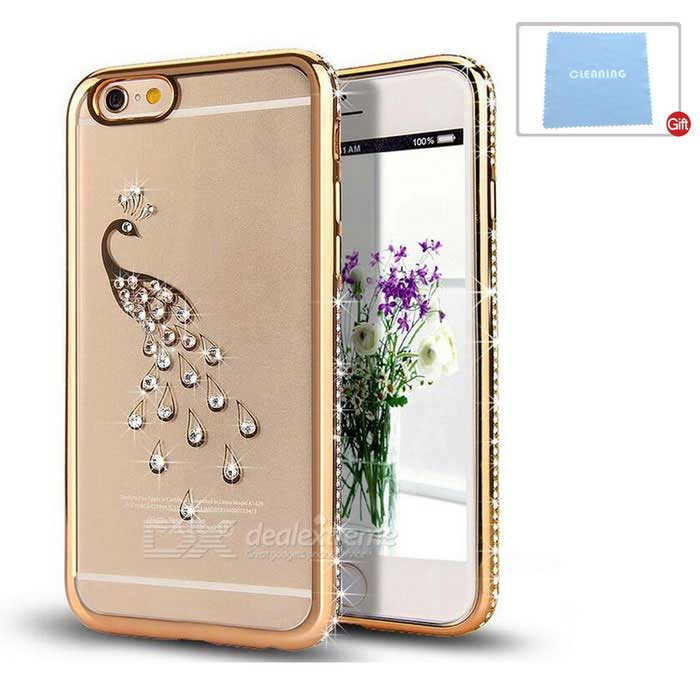 Peacock Patterned TPU Crystal Back Case Cover for IPHONE 6/6S - Gold