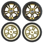 65mm Smart Car Model Wearable Rubber Wheel for TT Motor - Gold (4PCS)