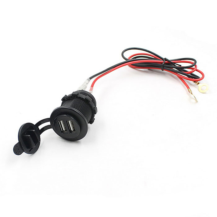 12~24V Waterproof Motocycle Dual USB Car Charger Socket - Black