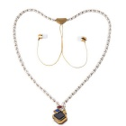 KWB Fashion Wireless In-ear Necklace Headset w/ Mic - Gold + White