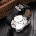 Oulm Men's Round Dial Dual Movements Leather Strap Watch - White