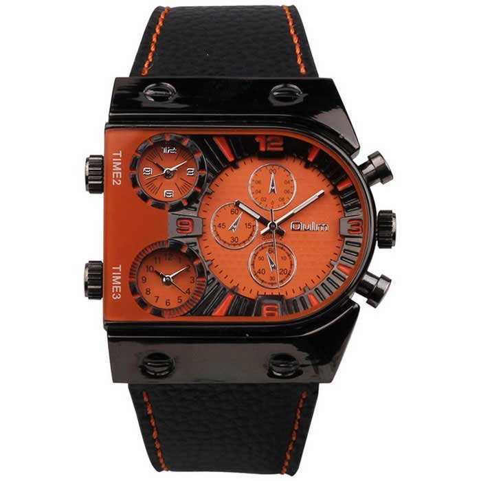 Oulm Men's Casual Leather Strap Three Time Zones Quartz Watch - Orange