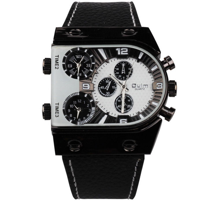 Oulm Men's Casual Leather Strap Three Time Zones Quartz Watch - White