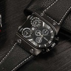 Oulm Men's Casual Leather Strap Three Time Zones Quartz Watch - Black