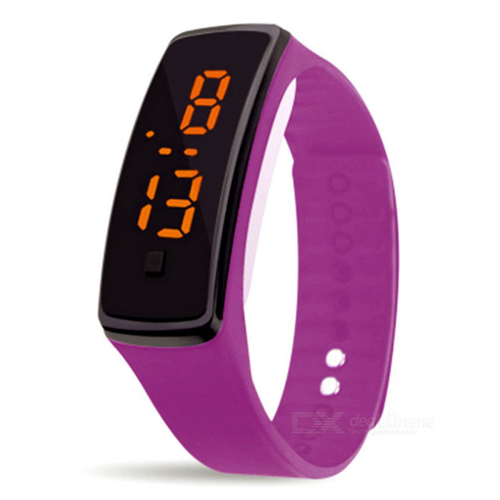 Silicone Pulseira LED Watch - roxo + preto (2 * LR1130)