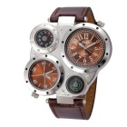 Oulm Men's Round Dial Dual Movements Leather Strap Watch - Brown