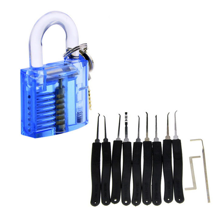 Praktijk Lock + Lock Picks Set - Transparent Blue + Black